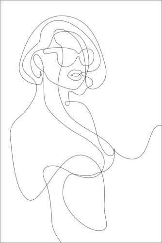 Juliste Woman with sunglasses - lineart
