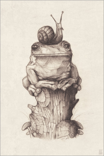 Juliste The frog and the snail, vintage