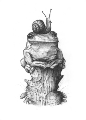 Juliste The frog and the snail, black and white