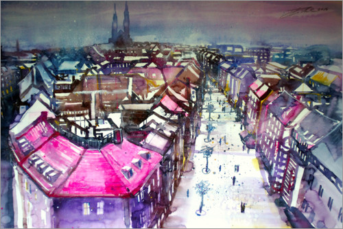 Juliste View into the wide street in Nuremberg