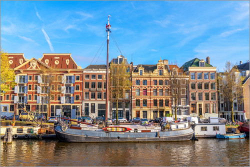Juliste Amsterdam canal with boats