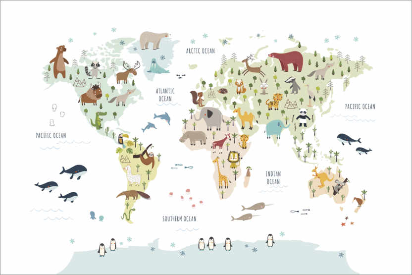 Juliste World map with animals (white)