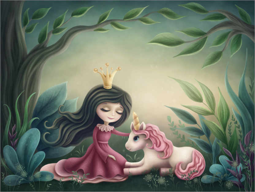 Juliste Princess with unicorn in the magic forest