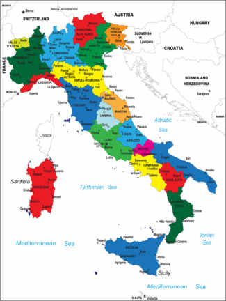 Canvas-taulu  Italy - Political Map