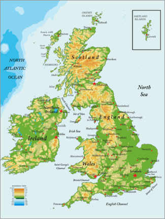 Canvas-taulu  Topography England