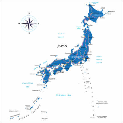 Juliste  Map of Japan