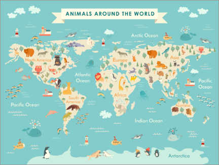 Alumiinitaulu  World map with animals (English) - Kidz Collection