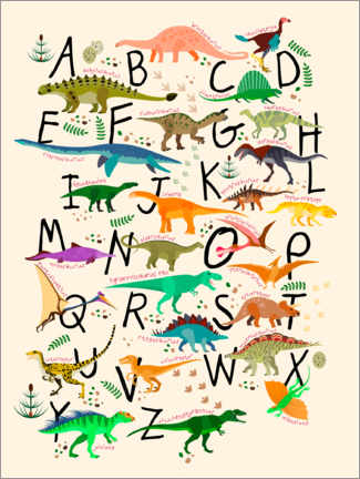 Sisustustarra  Dino Alphabet - Kidz Collection