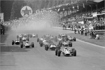 Canvas-taulu  Jim Clark leads the field at the start, Belgian GP 1967