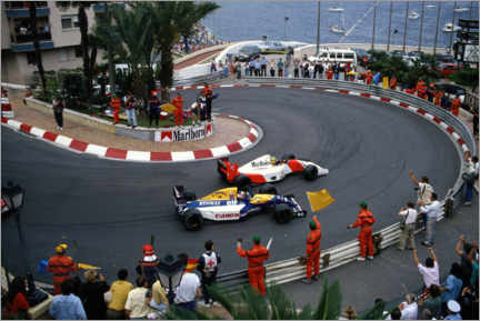 Canvas-taulu  Salute for Ayrton Senna and Nigel Mansell on the slowing down lap, 1992