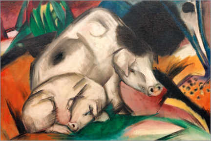 Canvas-taulu  Pigs (mother pig) - Franz Marc