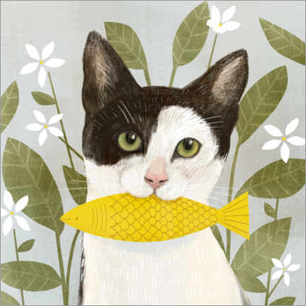 Akryylilasitaulu  Pretty cat with fish - Victoria Borges