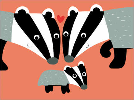 PVC-taulu  Badger's family - Julia Reyelt