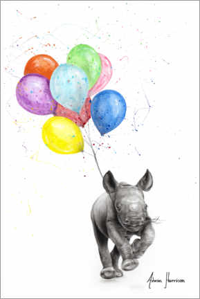 Juliste The Rhino and The Balloons
