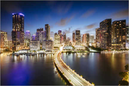 Juliste Downtown Miami at night
