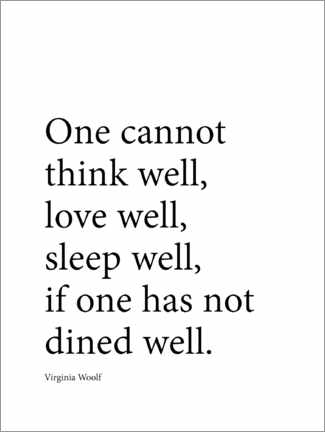 Akryylilasitaulu  Dine well - Virginia Woolf quote - Finlay and Noa