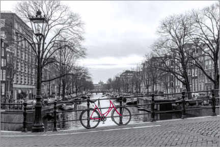 Canvas-taulu  Red bicycle in Amsterdam - George Pachantouris