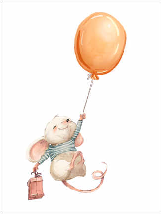 Puutaulu  Mouse with balloon - Kidz Collection