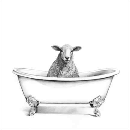 Juliste  Sheep in the tub - Victoria Borges