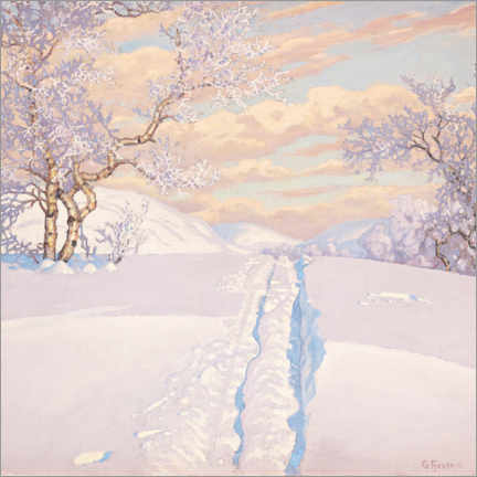Alumiinitaulu  Winter landscape with ski tracks - Gustaf Edolf Fjæstad
