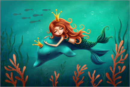 Juliste Little Mermaid and Dolphin