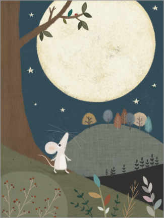 Akryylilasitaulu  The little mouse and the moon - Lucy Barnard
