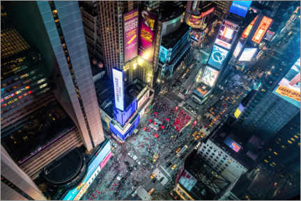 Akryylilasitaulu  Aerial view of Times Square in New York - Mike Centioli