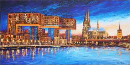 Juliste  Cologne crane houses at night - Renate Berghaus