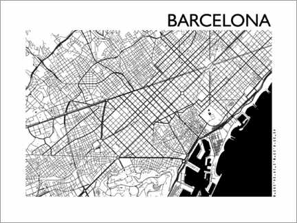 Canvas-taulu  Map of Barcelona - 44spaces