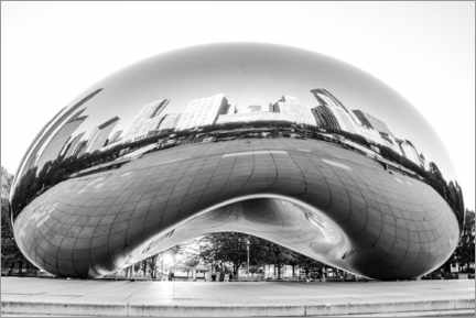 Canvas-taulu  Chicago Cloud Gate, black and white - HADYPHOTO