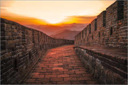 Juliste The Great Wall at the sunset