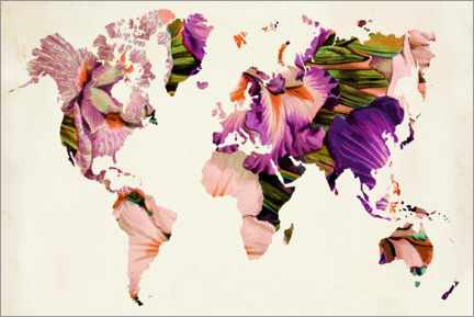 PVC-taulu  Floral world map - Mandy Reinmuth