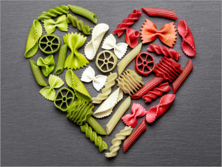 Akryylilasitaulu  Pasta heart with Italy flag colors - pixelliebe