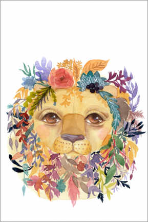 Juliste Lion with flowers