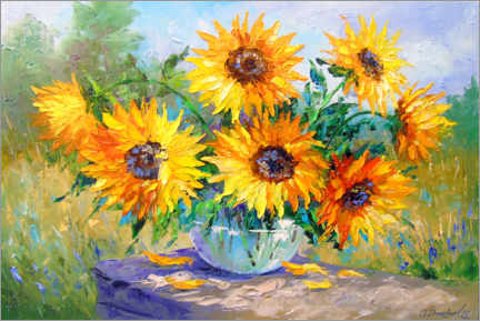 Akryylilasitaulu  Bouquet of sunflowers in nature - Olha Darchuk