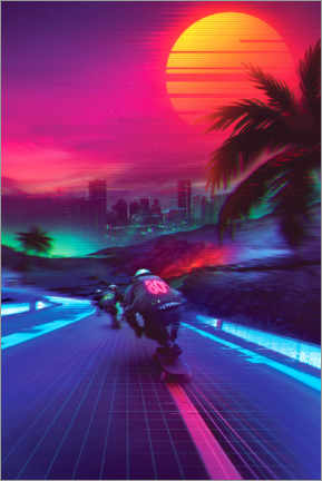 Canvas-taulu  Synthwave Midnight Outrun - Denny Busyet