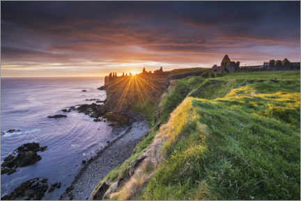 Juliste  Castle ruins by the sea in Ireland at sunrise - The Wandering Soul