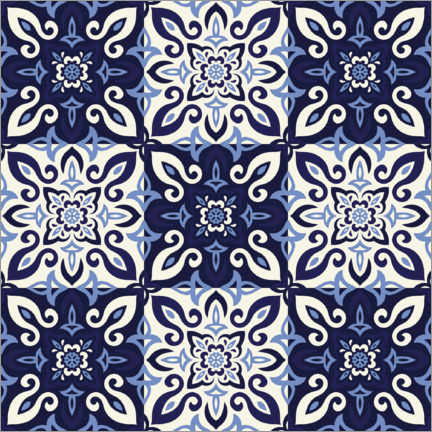 Canvas-taulu  Pattern in Delft blue style