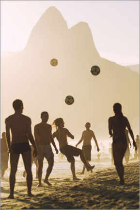 Alumiinitaulu  Beach soccer in the sunset