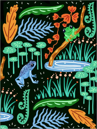 Canvas-taulu  Frogs in the forest