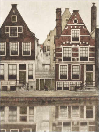 Canvas-taulu  Houses on the Groenburgwal in Amsterdam - Frans Everbag