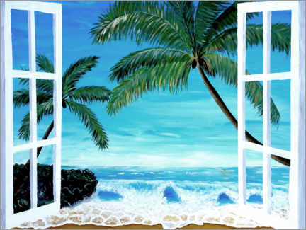 Akryylilasitaulu  Window with a view of the Caribbean beach - M. Bleichner