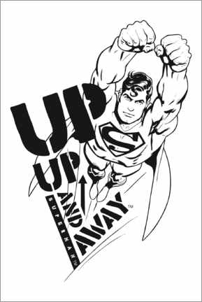 Juliste  Superman - Up and away