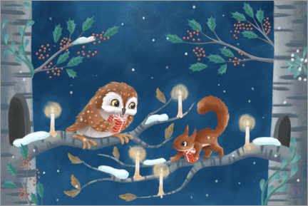 Juliste  Owl and squirrel exchanging gifts - Leonora Camusso