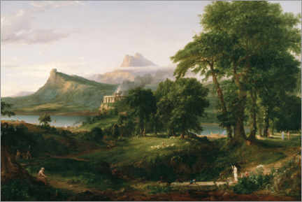 Akryylilasitaulu  The Course of Empire The Arcadian or Pastoral State - Thomas Cole