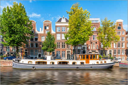 Juliste Architecture and boat in the canals of Amsterdam