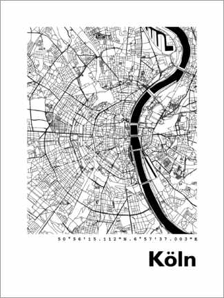 Akryylilasitaulu  City map of Cologne - 44spaces