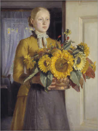 Akryylilasitaulu  The girl with the sunflowers - Michael Peter Ancher