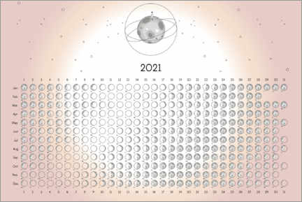 Juliste Moon phases 2021