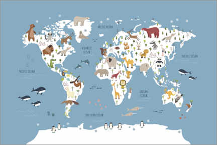 Juliste World map with animals (blue)